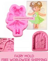 Fairy mold, Fairy mould, Fondant fairy, Gumpaste fairy, Fairy cake, Free worldwide shipping